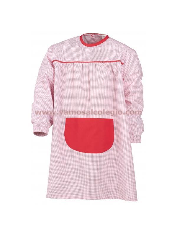 Baby Colegio El Valle - Baby rojo con cuadritos y bolsillo delantero. Puños cerrados con goma para un mejor ajuste. Tejido de pimera calidad - 50% algodón. Disponemos de servicio de bordado.
