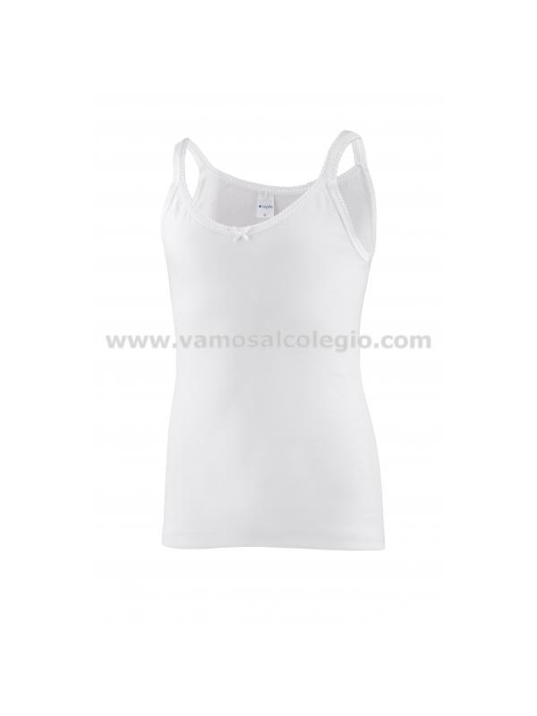 2305-Camiseta Tirante Fino Primera Calidad - Camiseta de algodón para niña de tirante fino, este articulo da poca talla, pedir una más de la habitual.