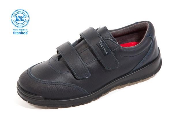 Zapato colegial, doble velcro. - Lavable, color MARINO. Corte piel, forro textil.