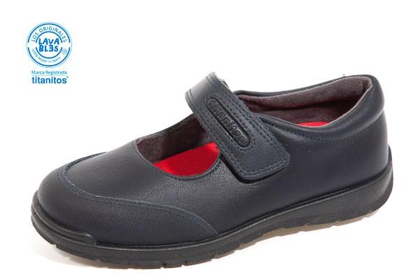 Zapato colegial, tipo Merceditas. - Lavable, color MARINO. Corte piel, forro textil.