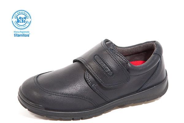Zapato colegial, cierre belcro. - Lavable, color MARINO. Corte piel, forro textil.