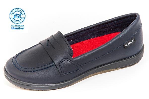 Zapato colegial. - Lavable, color MARINO. Corte piel, forro textil.