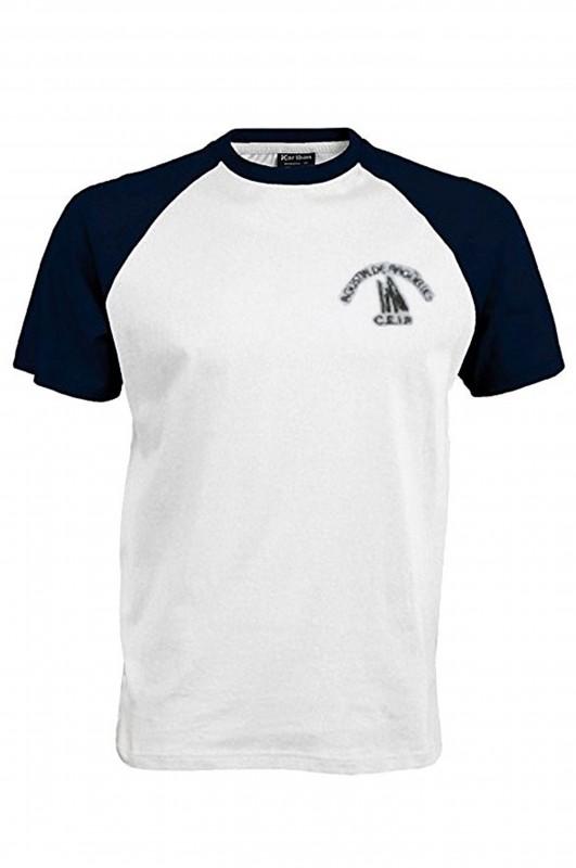 CAMISETA DEPORTE AGUSTÍN DE ARGÜELLES - Camiseta blanca en algodón, con las mangas en marino, con el escudo del colegio bordado. Modelo oficial del colegio.