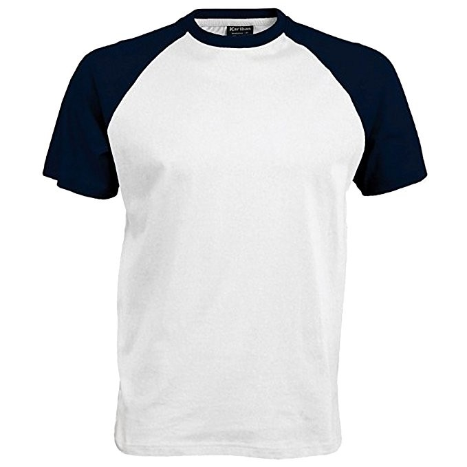 11-CAMISETA BICOLOR - Camiseta blanca en algodón, con las mangas en marino, con el escudo del colegio bordado. Modelo oficial del colegio.