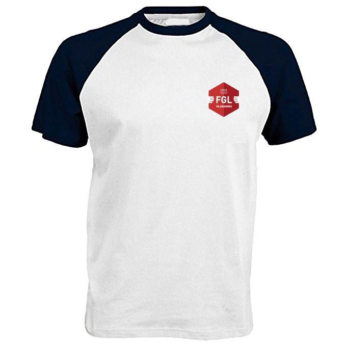 CAMISETA MANGA CORTA COLEGIO FEDERICO GARCÍA LORCA - Camiseta blanca en algodón, con las mangas en marino, con el escudo del colegio serigrafiado. Modelo oficial del colegio.