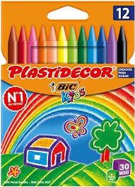 Ceras Plastidecor Bic kids - Ceras plastidecor de 12 o 24 colores surtidos. 8 mm de diámetro 12 cms longitud. Se les puede sacar punta y se pueden borrar. No manchan y no se rompen. Uso escolar. No recomendado para menores de 30 meses. Ideales para colorear o dibujar.
