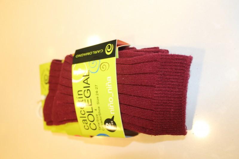 Calcetín colegial canalé, Color Granate, PACK DE 2 PARES. - PACK DE 2 PARES de calcetines de canalé. Composición 80% Algodón.  No hacen bolas. Se recomienda lavar del revés.  ¡¡ CADA PAR TE SALE A 1 €!!
