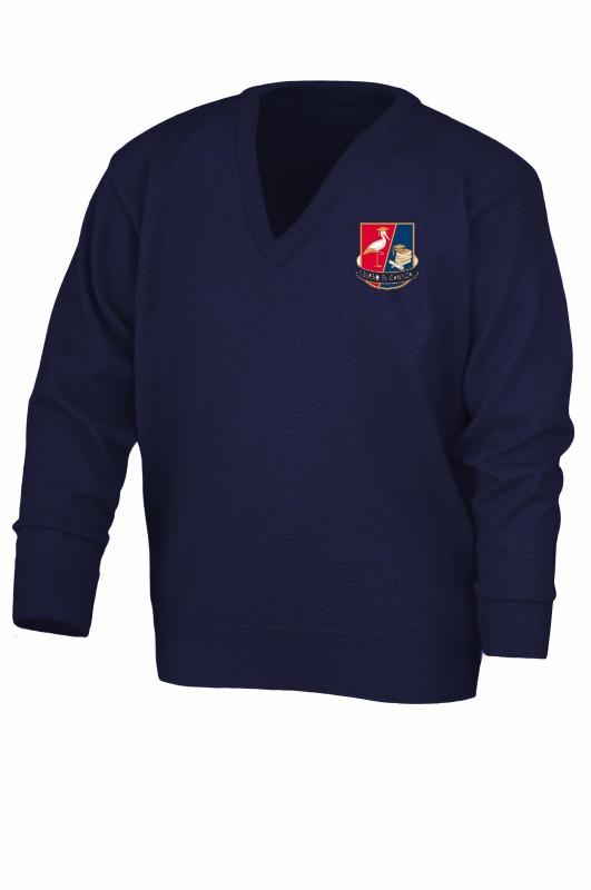 Jersey Cuello Pico  - Jersey de cuello pico con composición 30% Lana y 70% Acrílico. Color oficial del colegio. Bordado del colegio.