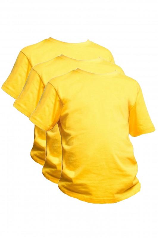 LOTE 3 CAMISETAS DEPORTE Padre Garralda, Villanueva de la Cañada - Lote 3 camisetas amarillas gold en algodón. Modelo oficial del CEIPSO Padre Garralda, Villanueva de la Cañada.