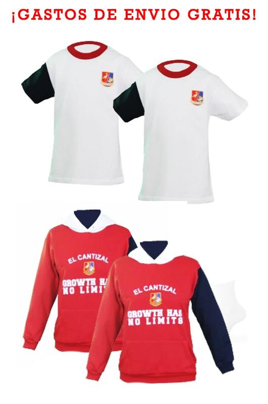 LOTE CAMISETAS Y SUDADERAS PRIMARIA EL CANTIZAL - Lote compuesto por 2 camisetas y dos sudaderas modelos oficiales del CEIPSO El Cantizal, Las Rozas de Madrid.