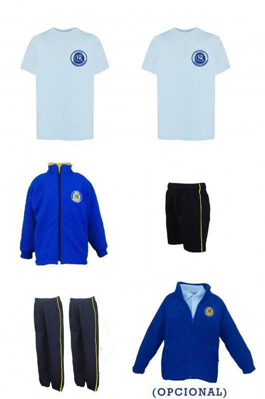 LOTE DEPORTIVO Nebrija Rosales, Madrid - Contiene: Chaqueta + 2 pantalones + bermuda + 2 camisetas . Elige tus tallas. Puedes añadir como opcional el forro polar con el escudo del centro.