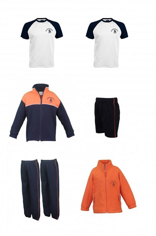 LOTE  DEPORTIVO CON CAMISETAS A.A. - Contiene: Chaqueta + 2 pantalones + bermuda + 2 camisetas + polar. Elige tus tallas. Puedes añadir como opcional baby y/o pack de calcetines deportivos.
