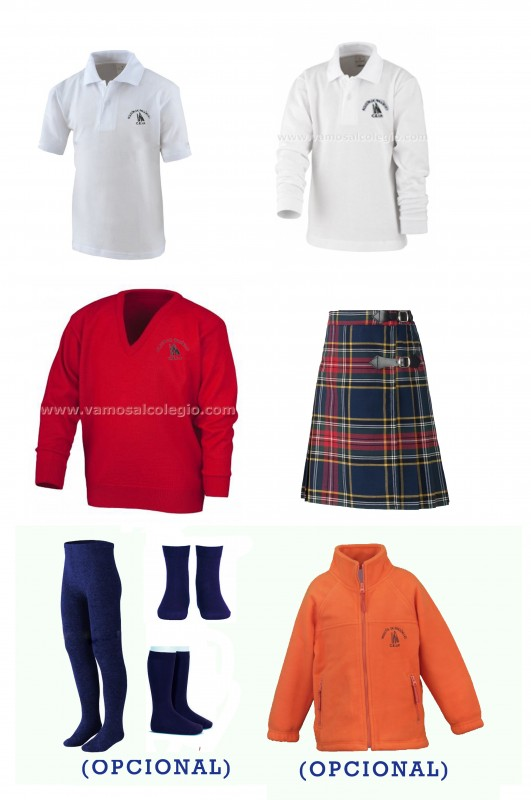 LOTE  VESTIR CON FALDA A.A. - Contenido: Falda + jersey + polo m/c + polo m/l. Elige tus tallas. Puedes añadir como opcional pack de leotardos, pack de media sport y/o polar.