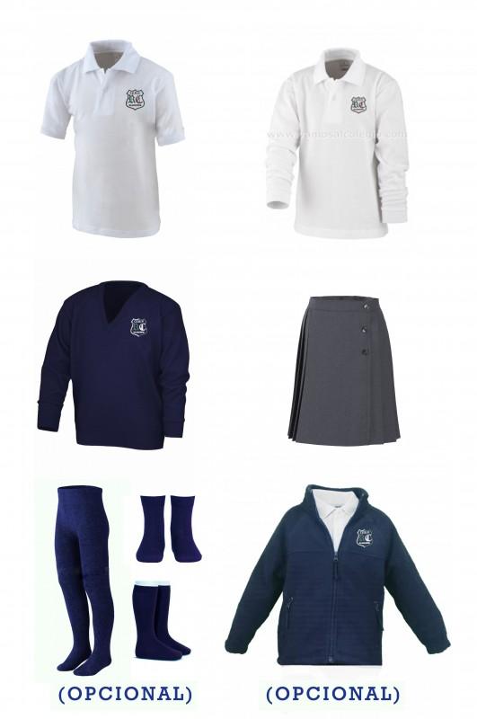 17-LOTE  VESTIR CON FALDA Rosalía de Castro - Contenido: Falda + jersey + polo m/c + polo m/l. Elige tus tallas. Puedes añadir como opcional pack de leotardos, pack de media sport y/o polar.