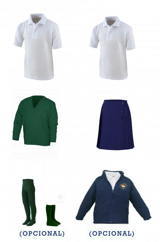 Lote uniforme escolar con falda - CEIP Antón Sevillano - Contenido: Falda + jersey + 2 polo m/c. Elige tus tallas. Puedes añadir como opcional pack de leotardos, pack de media sport y/o polar.