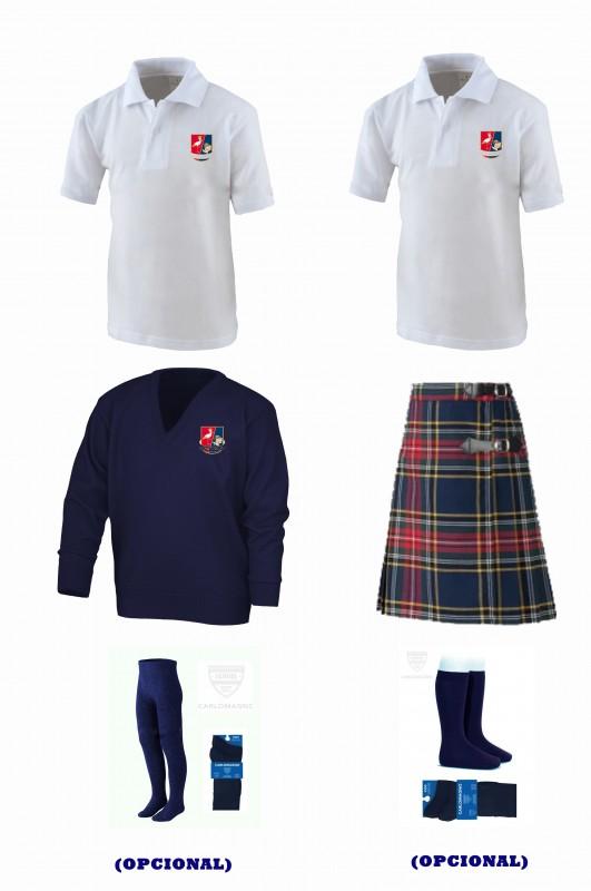 LOTE CON FALDA CUADROS - Contenido: Falda + jersey + 2 polos m/corta. Elige tus tallas. Puedes añadir como opcional pack de leotardos o/y pack de media sport.