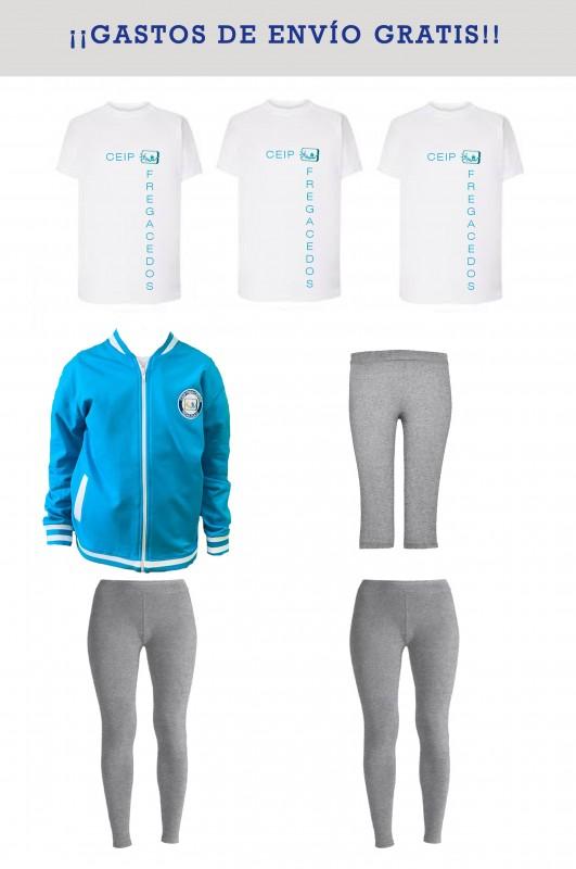 LOTE DEPORTIVO CON MALLAS CEIP Fregacedos, Fuenlabrada - Contiene: Chaqueta + mallas (2) + ciclista + camisetas m/c (3). Elige tus tallas. Puedes elegir como opcional otras prendas.