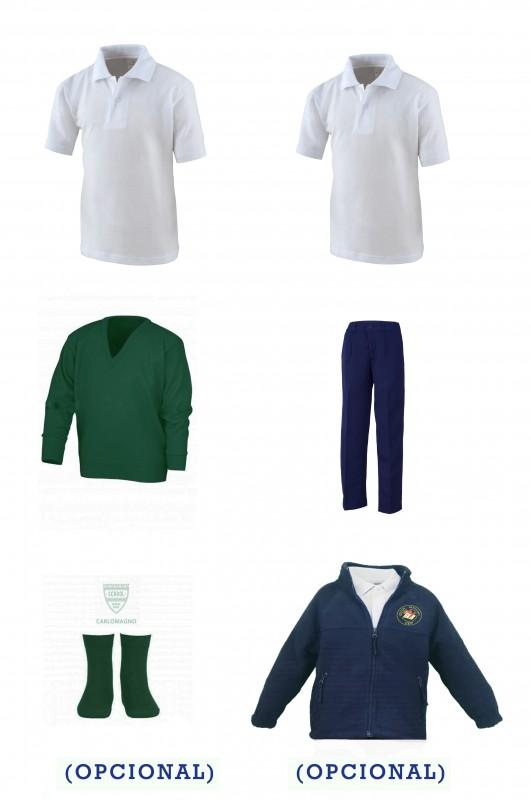 Lote uniforme escolar con pantalón botón - CEIP Antón Sevillano - Contenido: Pantalón con botón + jersey + 2 polo m/c. Elige tus tallas. Puedes añadir como opcional pack de calcetines y/o polar.