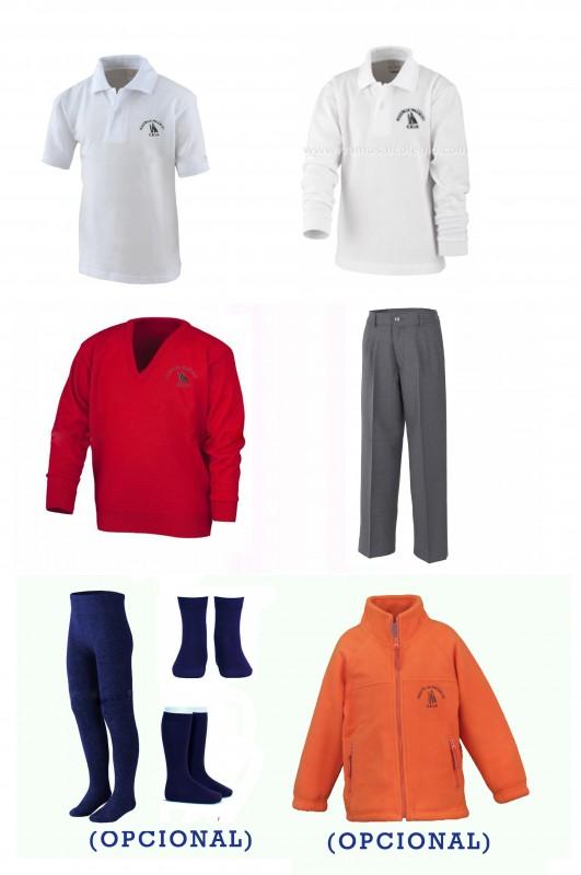 LOTE  VESTIR CON PANTALÓN CON BOTÓN  A.A. - Contenido: Pantalón  + jersey + polo m/c + polo m/l. Elige tus tallas. Puedes añadir como opcional  pack de calcetines y/o polar.