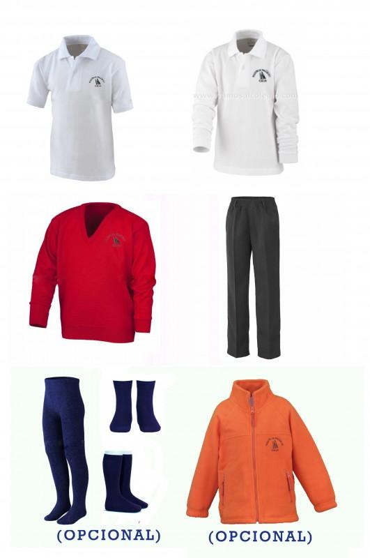 LOTE VESTIR CON PANTALÓN TODO GOMAS CEIP AGUSTÍN ARGÜELLES - Contenido: Pantalón todo gomas + jersey + polo m/c + polo m/l. Elige tus tallas. Puedes añadir como opcional  pack de calcetines y/o polar.