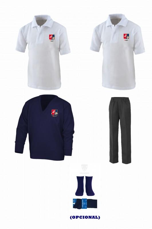 LOTE CON PANTALON TODO GOMAS - Contenido: Pantalón cintura todo gomas + jersey + 2 polos m/corta. Elige tus tallas. Puedes añadir como opcional pack de caldetin colegial.
