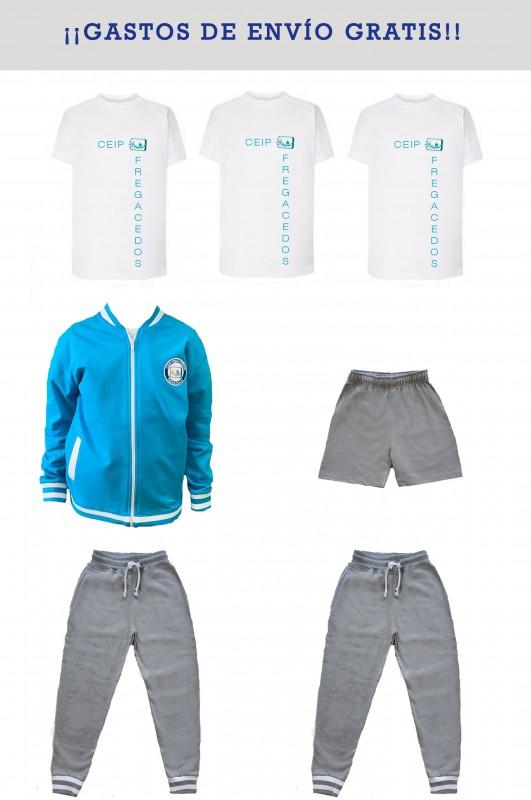 LOTE DEPORTIVO CON JOGGERS CEIP Fregacedos, Fuenlabrada - Contiene: Chaqueta + joggers (2) + bermuda + camisetas m/c (3). Elige tus tallas. Puedes elegir como opcional otras prendas.