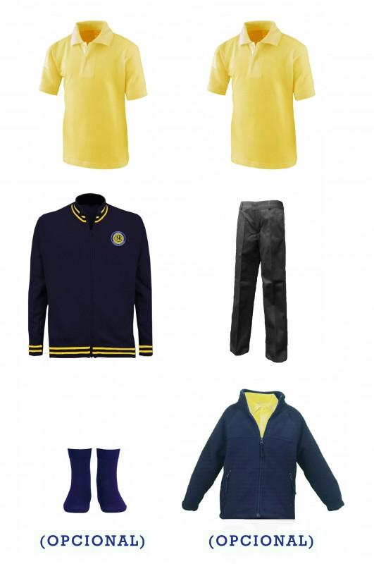 LOTE PANTALÓN CEIPSO PADRE GARRALDA - Contenido: Pantalón + Chaqueta de punto + 2 polos m/corta. Elige tus tallas. Puedes elegir como opcional pack de calcetín colegial y/o polar.