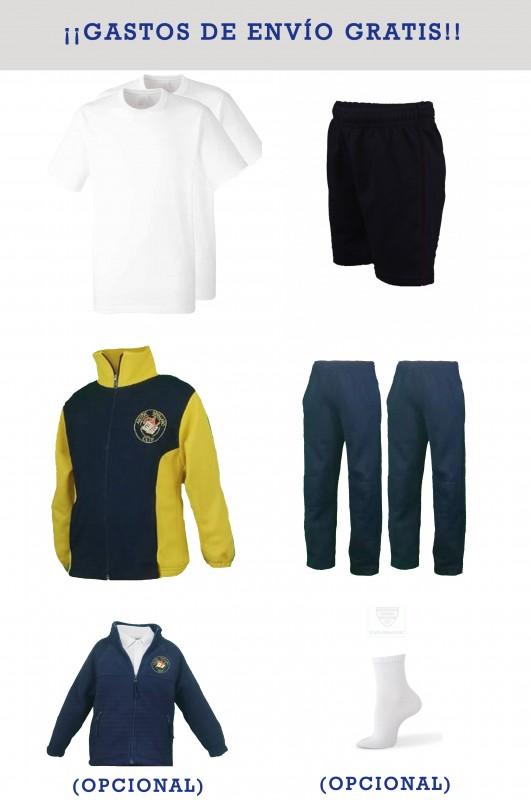 Lote uniforme deportivo CEIP Antón sevillano - Contiene: Chaqueta + 2 pantalones + bermuda + 2 camisetas. Elige tus tallas. Puedes añadir como opcional polar y/o pack de calcetines deportivos.
