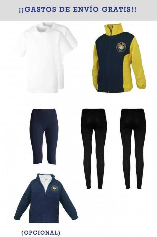 Lote uniforme deportivo con mallas CEIP Antón sevillano - Contiene: Chaqueta + 2 mallas + ciclista + 2 camisetas. Elige tus tallas. Puedes añadir como opcional el polar.