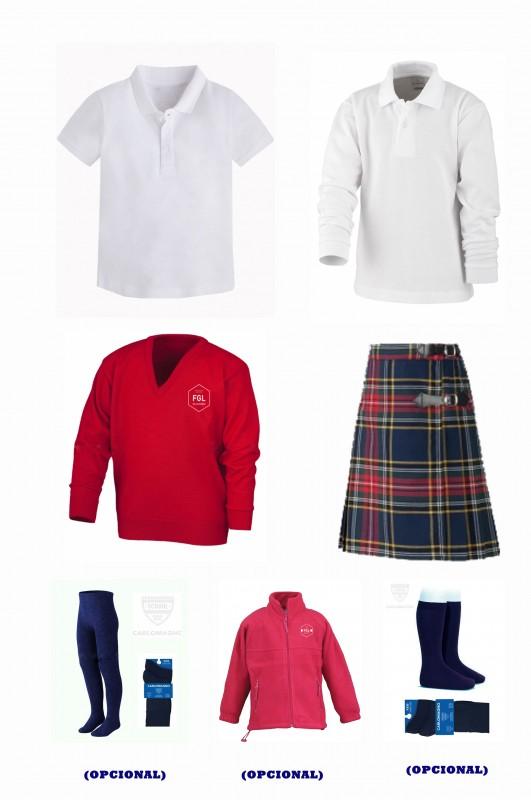 LOTE  VESTIR CON FALDA FGL - Contenido: Falda + jersey + polo m/c + polo m/l. Elige tus tallas. Puedes añadir como opcional pack de leotardos, pack de media sport y/o polar.