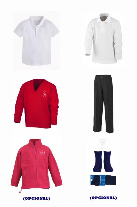 LOTE  VESTIR CON PANTALÓN CON BOTÓN  FLG - Contenido: Pantalón  + jersey + polo m/c + polo m/l. Elige tus tallas. Puedes añadir como opcional  pack de calcetines y/o polar.