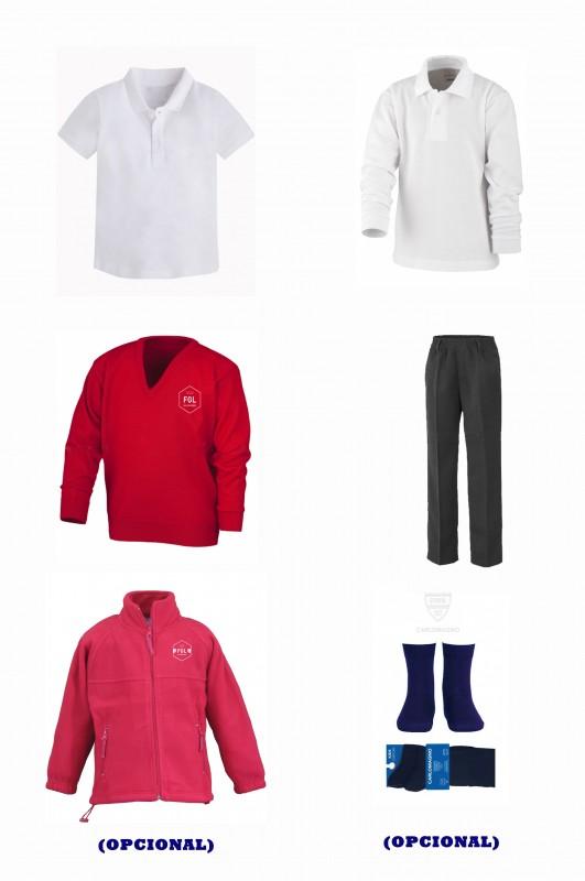 LOTE  VESTIR CON PANTALÓN TODO GOMAS  FGL - Contenido: Pantalón todo gomas + jersey + polo m/c + polo m/l. Elige tus tallas. Puedes añadir como opcional  pack de calcetines y/o polar.