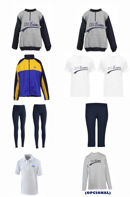 LOTE  DEPORTIVO CON MALLAS Instituto Loranca, Fuenlabrada - Contiene: Sudadera (2)+ Chaqueta + 2 mallas + pirata + camisetas m/c (2)+ polo. Elige tus tallas. Puedes elegir como opcional camiseta m/l y/o camiseta m/c.