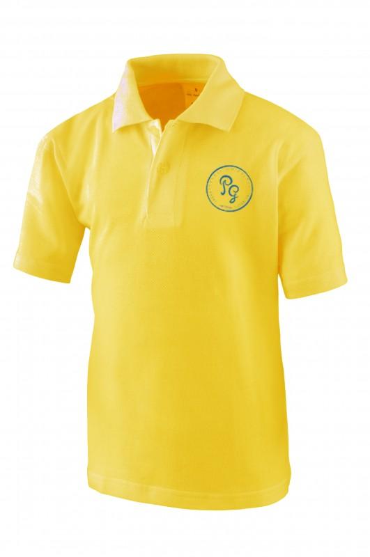POLO M/corta Padre Garralda, Villanueva de la Cañada - Polo manga corta amarillo gold, modelo oficial del uniforme del CEIPSO Padre Garralda, Villanueva de la Cañada.