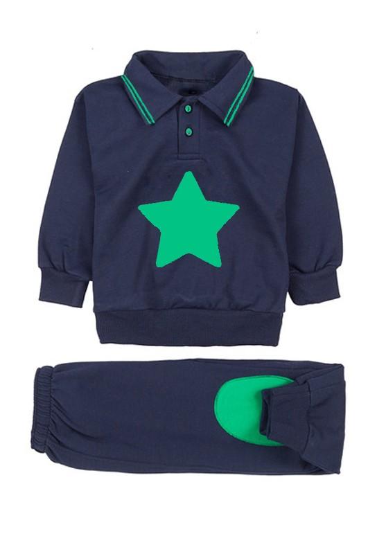Chandal escuela infantil estrella - Chandal escuela infantil en azul y verde con estrella bordada. Puños cerrados con goma para un mejor ajuste. Tejido de primera calidad. Puede ir cerrado completo o abierto en cuello o chaqueta. Si deseas un presupuesto para tu centro infantil no dudes en ponerte en contacto con nosotros