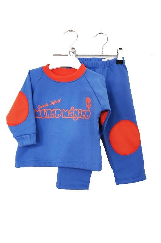 Chandal escuela infantil Mundo Mágico - Conjunto deportivo en azul y naranja. El precio NO INCLUYE SERIGRAFÍA, NI BORDADO.