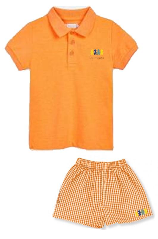 Uniforme verano escuela infantil - Conjunto deportivo de verano naranja . Logo bordado. Fabricado en España, tejido de primera calidad ideal para los más pequeños. Puede ir personalizado en cuello, mangas.... Múltiples colores disponibles. Si deseas un presupuesto para tu centro infantil no dudes en ponerte en contacto con nosotros