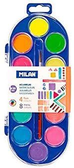 ACUARELAS MILAN - Pastillas de distintos colores, 30 mm Ø. Los colores se pueden mezclar en los pequeños recipientes mezcladores de la tapa del estuche Las acuarelas MILAN se presentan en pastillas redondas y compactas. Sus colores se obtienen a partir de pigmentos inocuos y resistentes a la luz. Pueden lavarse fácilmente sobre la mayoría de tejidos.