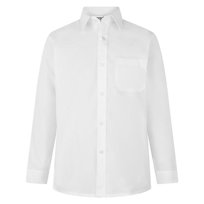 CAMISA DE MANGA LARGA, PACK DE DOS - Camisa blanca o azul de uniforme. No necesita planchado. Regular fit. Tejido premium. Botones hasta el cuello. Bolsillo en el pecho. Tejido tratado para una máxima durabilidad. Composición: 35% algodón / 65% poliéster
