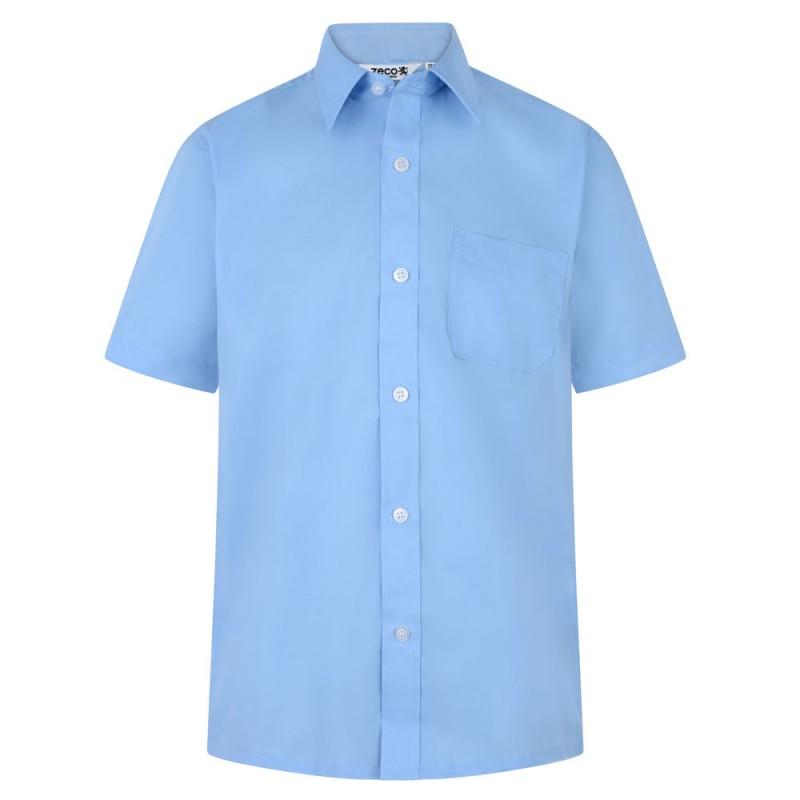 CAMISA DE MANGA CORTA, PACK DE DOS - Camisa blanca o azul de uniforme. No necesita planchado. Regular fit. Tejido premium. Botones hasta el cuello. Bolsillo en el pecho. Tejido tratado para una máxima durabilidad. Composición: 35% algodón / 65% poliéster