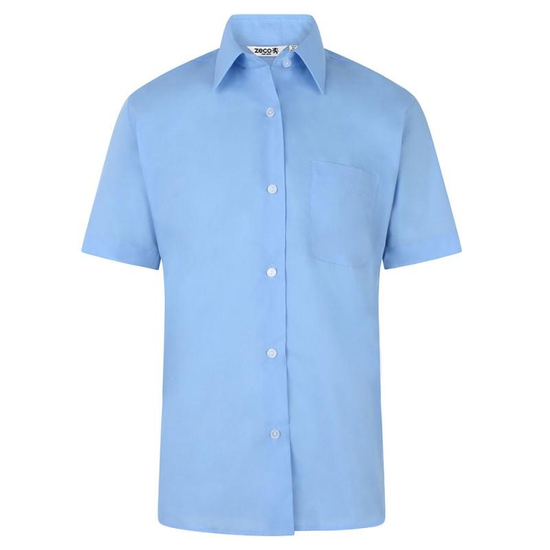 CAMISA DE MANGA CORTA CHICA, PACK DE DOS - Camisa blanca o azul de uniforme con cintura ligeramente entallada. No necesita planchado. Regular fit. Tejido premium. Botones hasta el cuello. Bolsillo en el pecho. Tejido tratado para una máxima durabilidad. Composición: 35% algodón / 65% poliéster