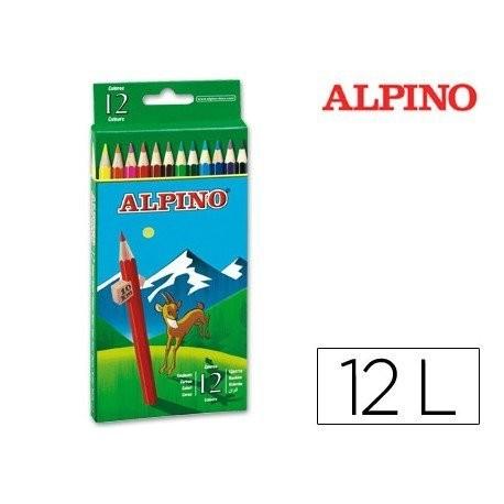 Caja colores hexagonales Alpino - Escritura suave. Madera de cedro. Colores mezclables. Estuche de cartón. Lápices largos. Altura de lápiz: 175 mm. Diámetro de lápiz: 7 mm. Diámetro de la mina: 3 mm. Cajita de 12 o 24 Unidades.