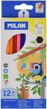 Caja lápices de colores triangulares Milan - Escritura suave. Madera de cedro. Colores mezclables. Estuche de cartón. Lápices largos. Altura de lápiz: 175 mm. Diámetro de lápiz: 7 mm. Diámetro de la mina: 3 mm. Cajita de 12 o 24 Unidades.
