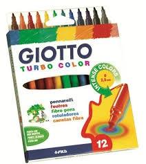Estuche rotuladores Giotto - Punta muy resistente de 2,8 mm de diámetro bloqueada que no se hunde. Larga duración. Capuchón ventilado. Tinta lavable en la piel y en los tejidos. No recomendado para menores de 3 años. Estuche de cartón.