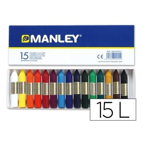 Ceras blandas Manley - Caja de 10 o 15 unidades de colores surtidos. Se distinguen por su suavidad y resistencia a la luz. Los colores se mezclan con facilidad permitiendo su utilización sobre todo tipo de superficies porosas. Altura de la cera: 60 mm. Diámetro de la cera: 10 mm.