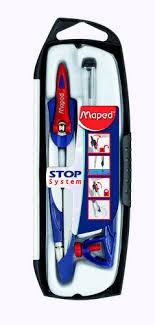 COMPÁS MAPED STOP SYSTEM  5 - Compás para uso escolar. Sistema patentado Stop System, para bloquear los brazos. Trazado óptimo y seguro. Minas de 2 mm. de grosor. Producto presentando en estuche infdividual, con compás, adaptador universal y minas. Fabricado por MAPED®