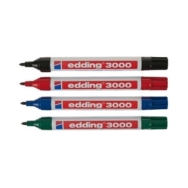 Rotulador edding 3000 - Tinta permanente, casi sin olor, resistente al agua y los roces y de secado rápido. Para uso inmediato. Grosor de trazo: 1,5 - 3 mm. Punta: redonda.