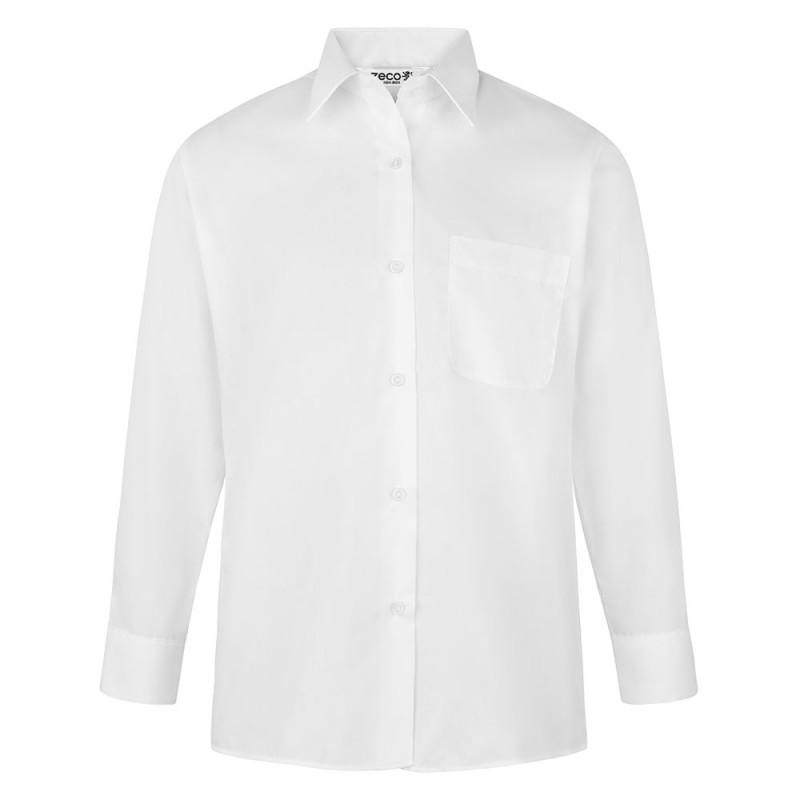 CAMISA DE MANGA LARGA CHICA, PACK DE DOS - Camisa blanca o azul de uniforme con cintura ligeramente entallada. No necesita planchado. Regular fit. Tejido premium. Botones hasta el cuello. Bolsillo en el pecho. Tejido tratado para una máxima durabilidad. Composición: 35% algodón / 65% poliéster
