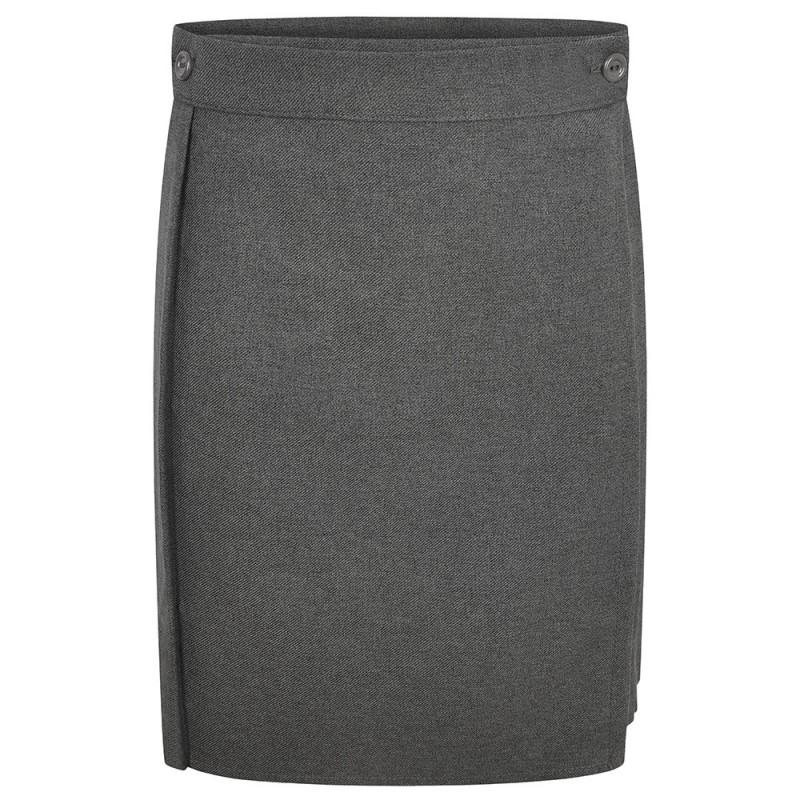 FALDA CON FRENTE LISO Y TABLONES - Falda con frente liso y tablones. 2 botones frontales para un mejor ajuste. Pasador desmontable.