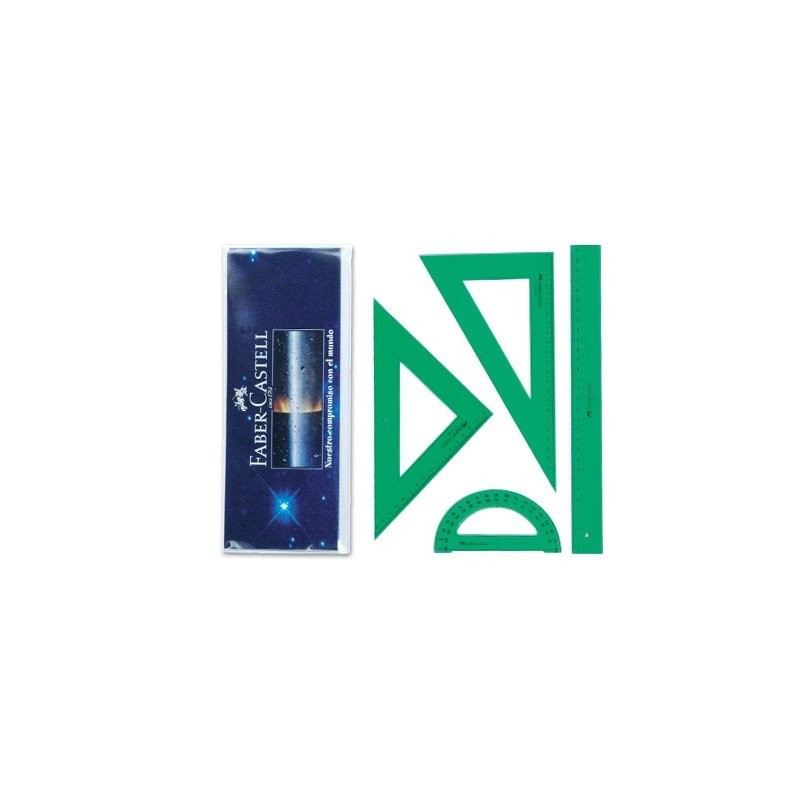 JUEGO DE REGLAS FABER CASTELL - Juego de reglas de plástico verde Faber-Castell. En petaca con escuadra de 23 cm, cartabón de 20 cm, regla de 30 cm y semicírculo de 180º. Graduación milimétrica. Serie escolar. Plástico inyectado. Con Bisel